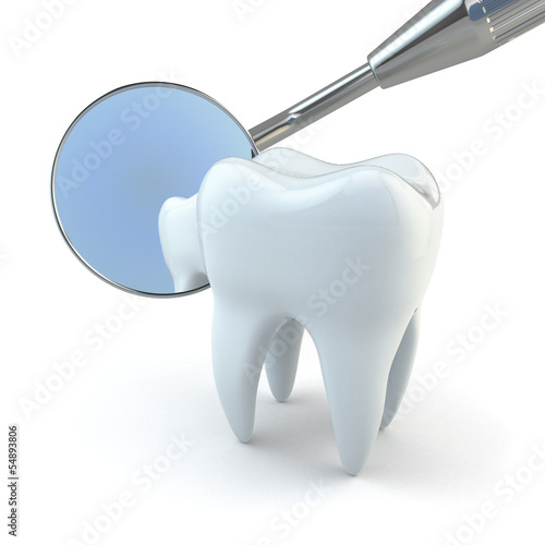 Fotografie, Obraz  Tooth and dental equipment on white background.
