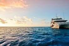 Ship Floating On A Wavy Sea Un...