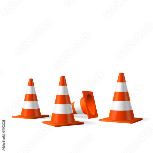 Fotografie, Obraz  Traffic cones vector isolated object