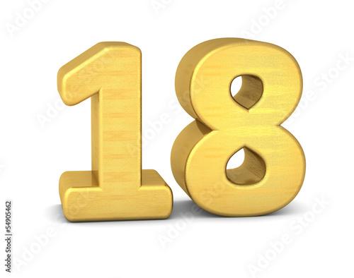 Photo zahl cipher 18 gold vertikal