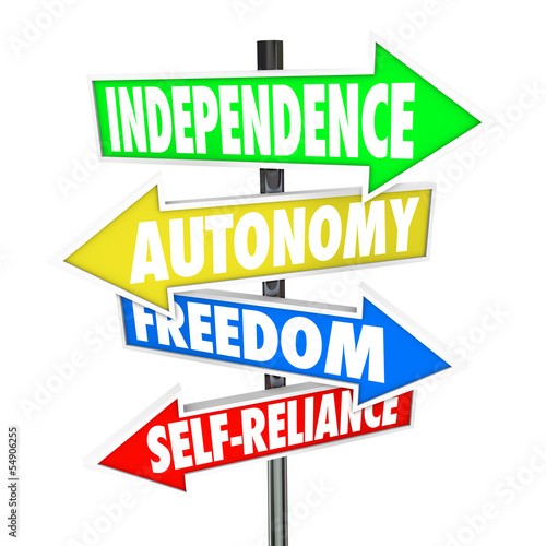 Photo Independence Road Sign Arrows Autonomy Freedom Self-Reliance
