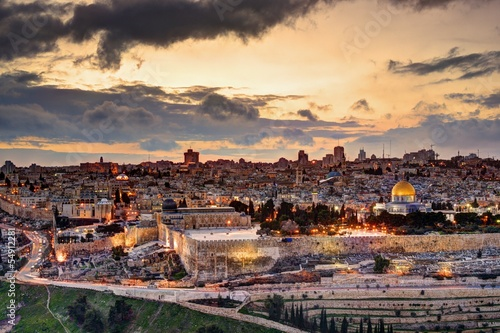 Poster Middle East Jerusalem Old City Skyline