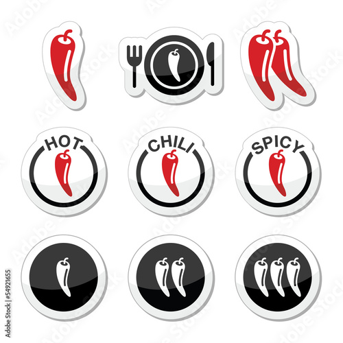 Slika na platnu Chili peppers, hot and spicy food icons set
