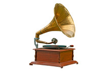 Old Gramophone On White Backgr...