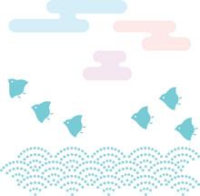 千鳥と雲と波の和風素材