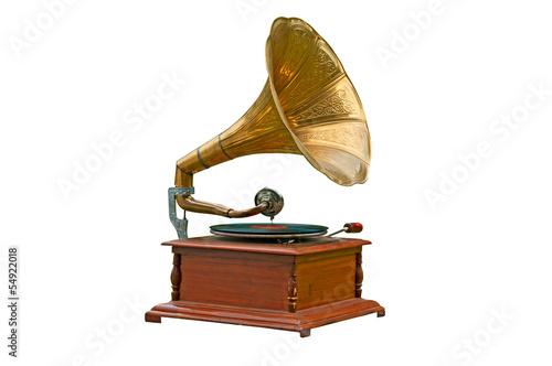 Fotografía Old gramophone on white background
