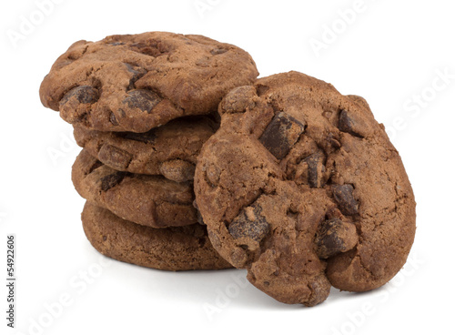 Tuinposter Koekjes Chocolate chips cookies isolated on white background