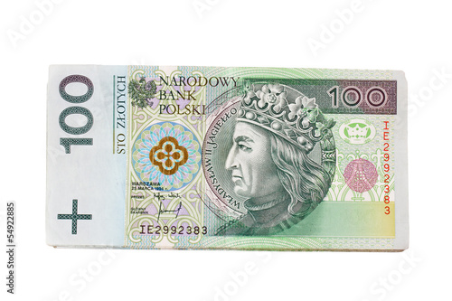 Fotografía  pack of polish zloty isolated on white background
