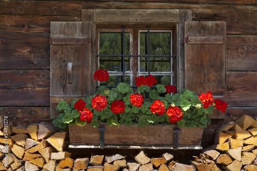 Fenster einer Almhütte mit Geranien und Holz
