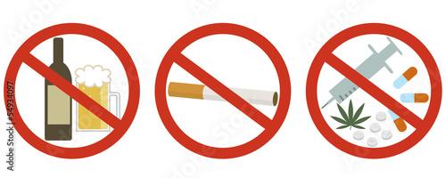 酒・たばこ・薬物禁止 Fototapeta