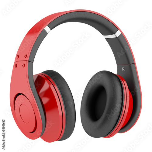 Photo  red and black wireless headphones isolated on white background