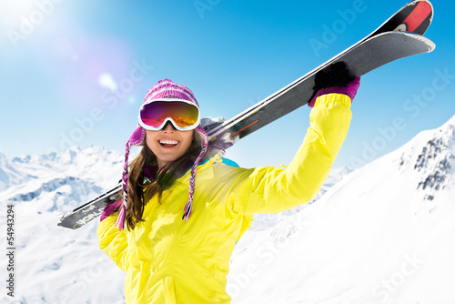 Canvas Print Frau trägt Ski