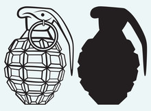 Image Of An Manual Grenade Isolated On Blue Background