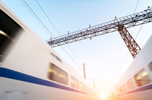 Two Modern High Speed Train Wi...