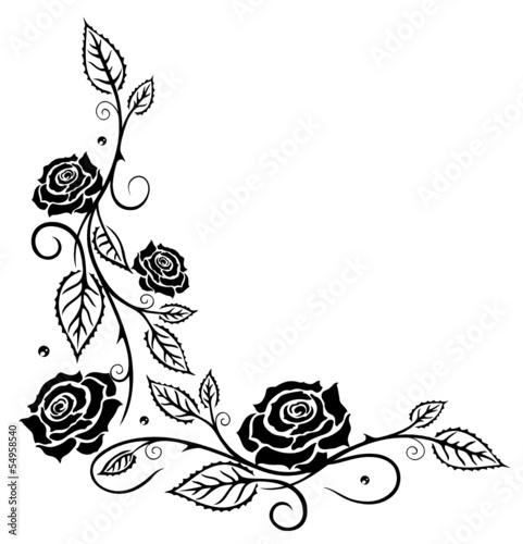 ranke rosen rosenranke blumen blüten schwarz sticker
