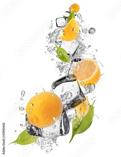 Foto op Canvas In het ijs Ice lemons on white background