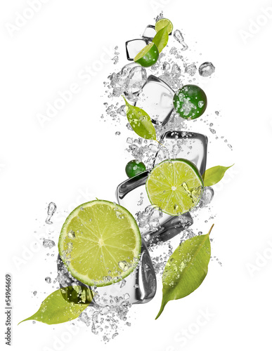 Foto op Canvas In het ijs Ice limes on white background