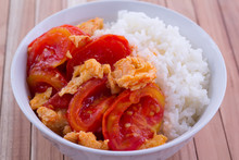 Fried Egg With Tomato With Rice, Asian Style