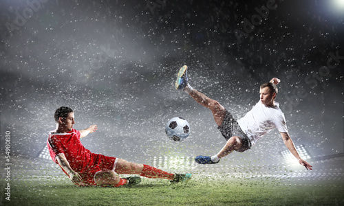 Tuinposter Voetbal Two football player