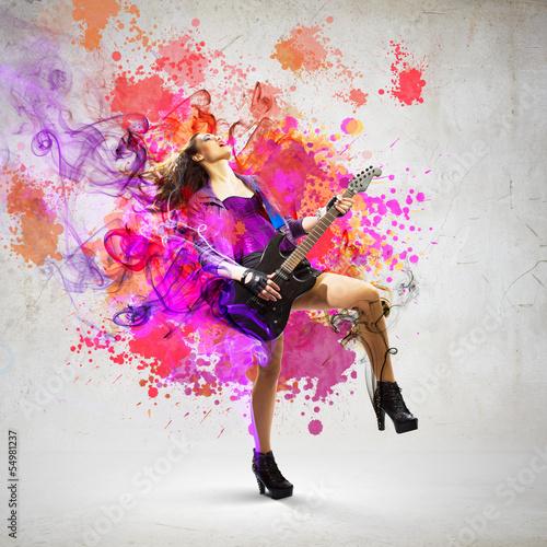 Obraz w ramie Rock passionate girl