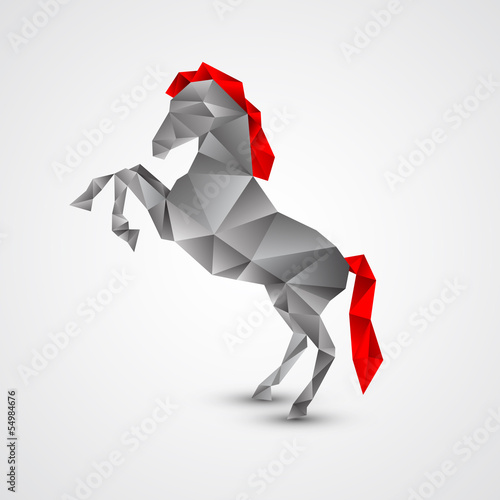 Poster Geometrische dieren Horse isolated on a white background