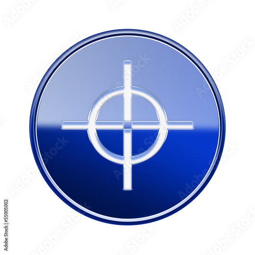 Photo  target icon glossy blue, isolated on white background.