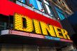 Vibrant and colorful retro diner sign