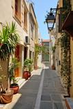 Fototapeta Uliczki - Narrow street in city of Rethymno, Crete, Greece