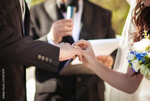 Fotografie, Obraz  bride and groom at wedding day