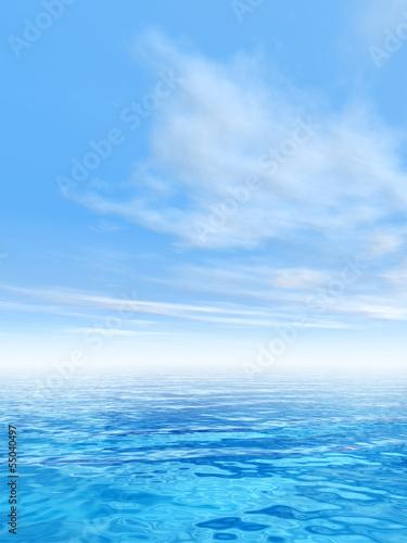 Fotobehang Zee / Oceaan Conceptual blue sea or ocean water with sky