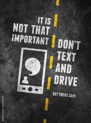 Fotografie, Tablou Texting and driving warning