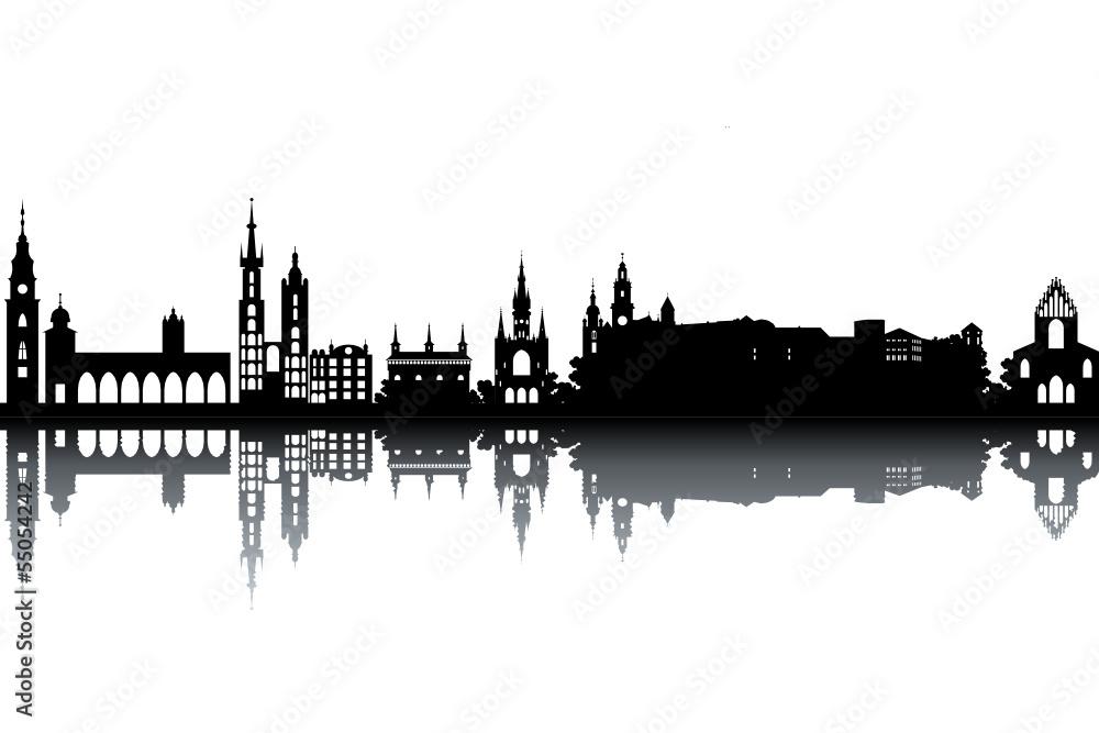 Obraz Krakow skyline - black and white vector illustration fototapeta, plakat