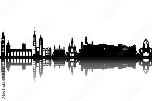 Fototapeta Krakow skyline - black and white vector illustration obraz