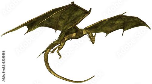 Fotografie, Tablou  Green Scaled Dragon in Flight