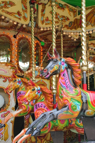 Poster Imagination carousel merry-go-round horses ride horse ride funfair