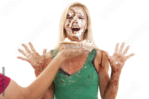 Valokuva  Woman just got pie in face