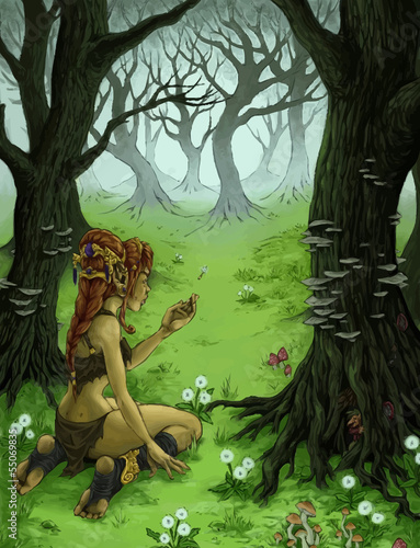 Canvas Prints Fairies and elves Girl got lost in the woods