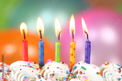 Celebration with Balloons Candles and Cake Poster