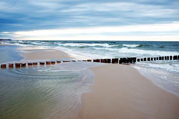 Obraz na Szklebeach and blue sea