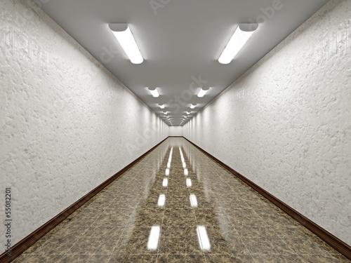 Fotografie, Tablou  The empty long corridor