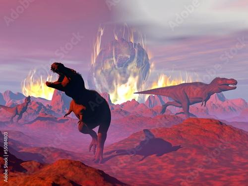 Poster Crimson Tyrannosaurus dinosaur exctinction - 3D render