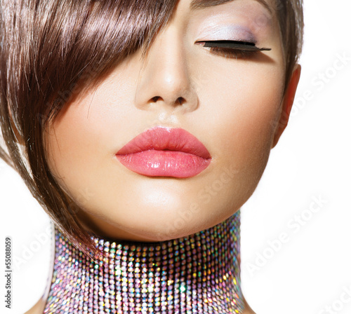 Poster - Hairstyle. Beauty Model Girl Portrait with Perfect Makeup