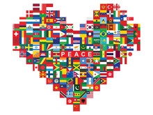 Heart Made Of Flags Icons With Word Peace