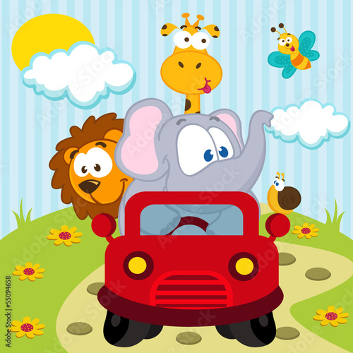 Papiers peints Cartoon voitures animals by car - vector illustration