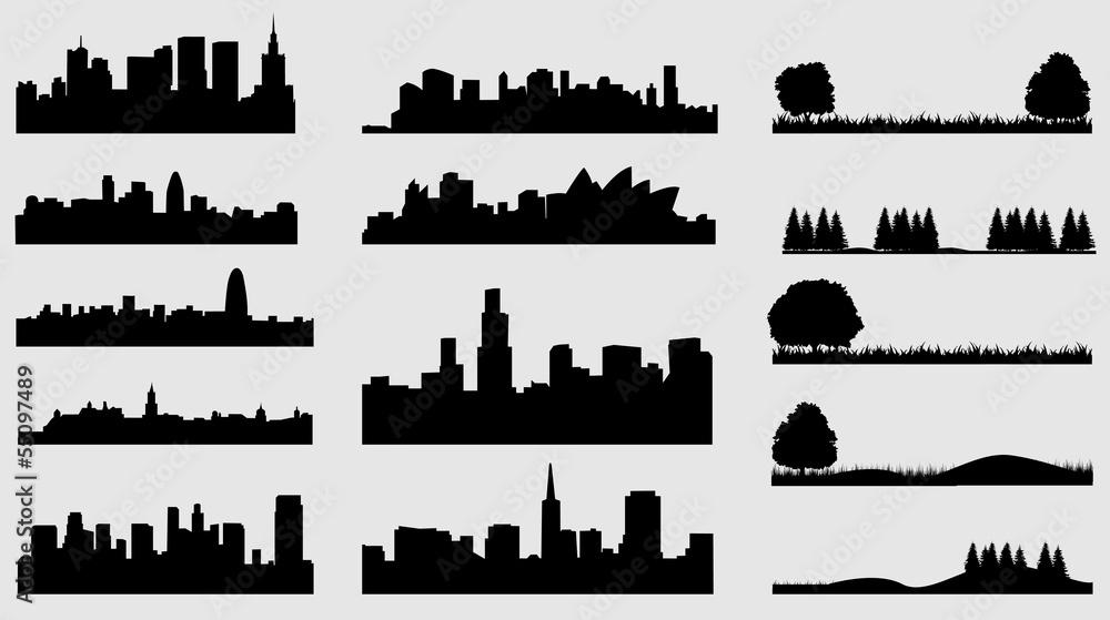 Obraz view city tree grass fototapeta, plakat