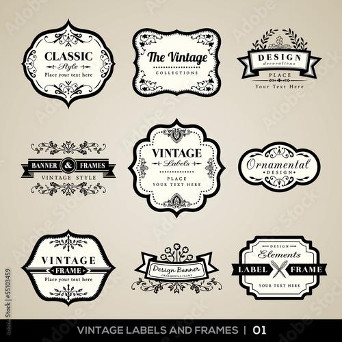 Foto auf AluDibond Retro Vintage labels and frames