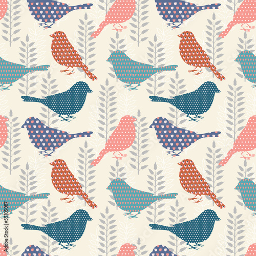 obraz dibond Birds seamless pattern