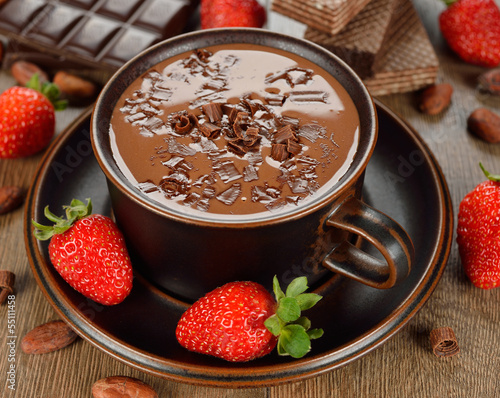 Hot chocolate and strawberry
