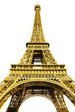 Tour Eiffel Jaune Sur Fond Blanc