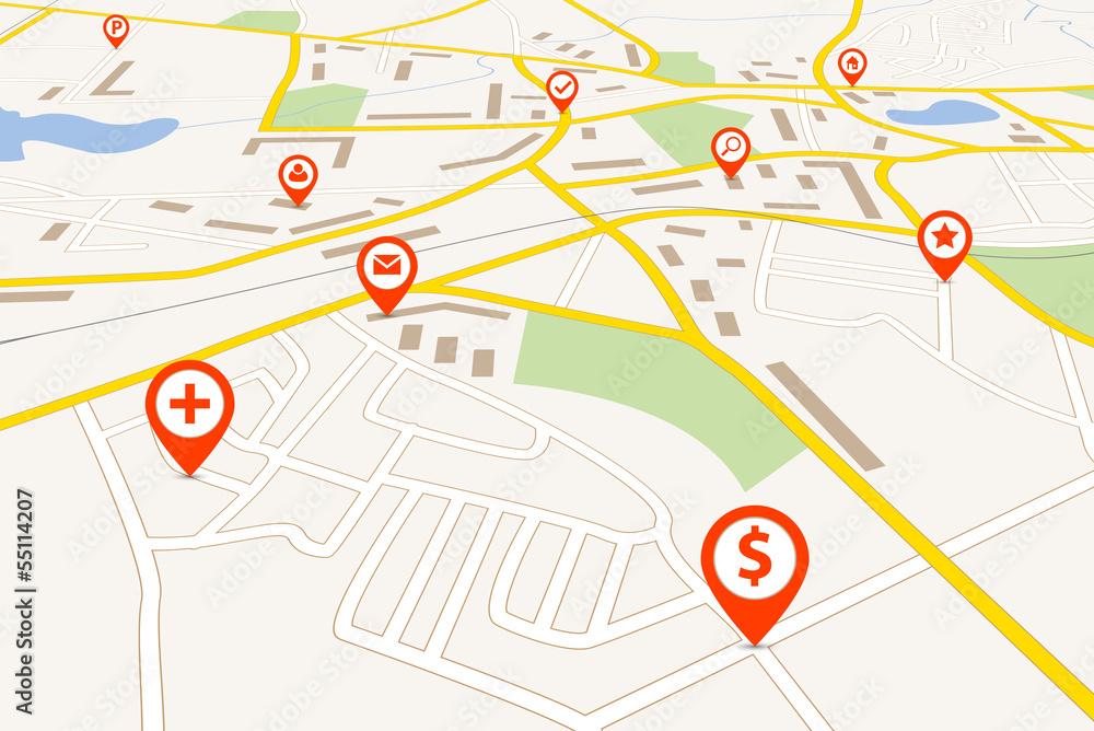 Fototapeta Navigation map